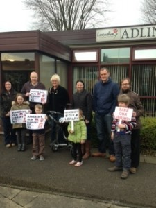 Simon Thomson (third from right) with fellow campaigners outside Adlington Library.